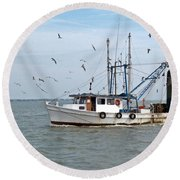 Shrimp Boat And Gulls Round Beach Towel