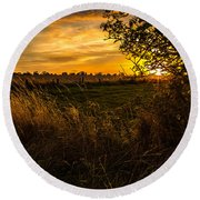 Shropshire Fields In Late Summer Round Beach Towel