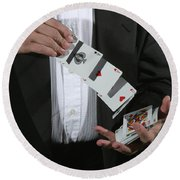Shuffling Cards Round Beach Towel