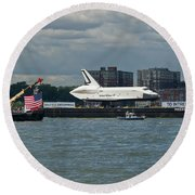 Shuttle Enterprise Flag Escort Round Beach Towel