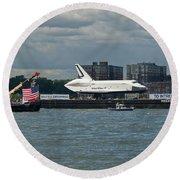 Shuttle Enterprise Flag Escort Round Beach Towel by Gary Eason