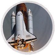 Shuttle Lift-off Round Beach Towel by Science Source