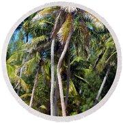 Shy Palms Round Beach Towel