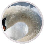 Shy Swan Round Beach Towel