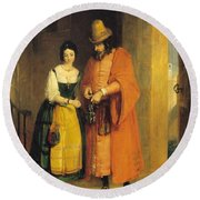 Shylock And Jessica From 'the Merchant Of Venice' Round Beach Towel
