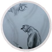 Siamese Cat Study Round Beach Towel
