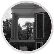 Side View South Portico Bw Round Beach Towel