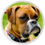 Sidney The Boxer Round Beach Towel