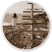 Sign At Point Montara Lighthouse - Sepia Round Beach Towel