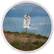 Sign At The Gulf Of Bothnia Round Beach Towel