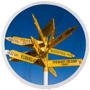 Signpost In Sterling Point Bluff Round Beach Towel