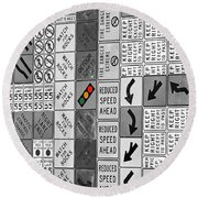 Signs Black And White Round Beach Towel