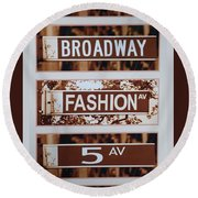 Signs Of New York Round Beach Towel by Rob Hans
