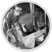 Silent Film Still: Accidents Round Beach Towel