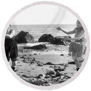 Silent Film Still: Beach Round Beach Towel