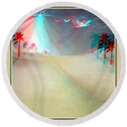 Silent Night - Red And Cyan 3d Glasses Required Round Beach Towel