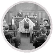 Silent Still: Courtroom Round Beach Towel