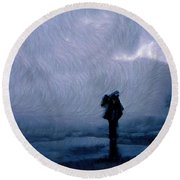 Silhouette In The Fog Round Beach Towel