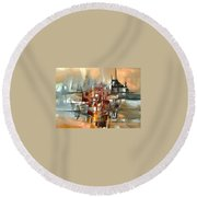 Silhouette Of A City Is Reflected In The Lake Round Beach Towel