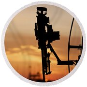 Silhouette Of A M240g Medium Machine Round Beach Towel by Terry Moore