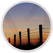 Silhouette Of Barbed Wire Fence Round Beach Towel
