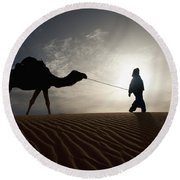 Silhouette Of Berber Leading Camel Round Beach Towel