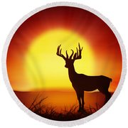 Silhouette Of Deer With Big Sun Round Beach Towel