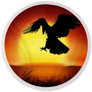 Silhouette Of Eagle Round Beach Towel