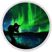 Silhouette Of Photographer Shooting Stars Round Beach Towel by Setsiri Silapasuwanchai