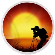 Silhouette Of Photographer With Big Sun  Round Beach Towel