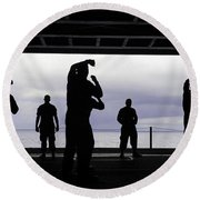 Silhouette Of Sailors In The Hangar Bay Round Beach Towel
