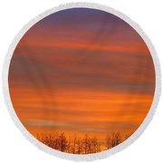Silhouette Of Trees Against Sunset Round Beach Towel