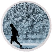 Silhouette Over Water Round Beach Towel