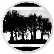 Silhouette Palm Sunset Round Beach Towel