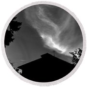 Silhouetted House And Clouds Round Beach Towel