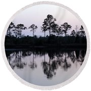 Silhouetted Trees Round Beach Towel