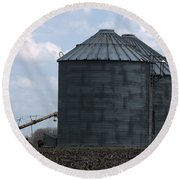 Silos And Augers Round Beach Towel