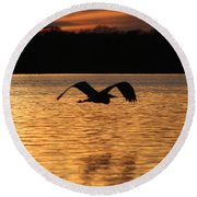 Silouette On The Lake Round Beach Towel