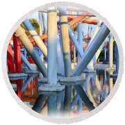 Silver Bullet Over Reflection Lake Round Beach Towel