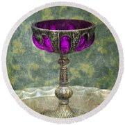 Silver Chalice With Jewels Round Beach Towel by Jill Battaglia
