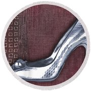 Silver Crocodile Pump Round Beach Towel