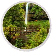 Silver Falls Bridge Round Beach Towel
