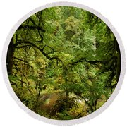 Silver Falls Rainforest Round Beach Towel