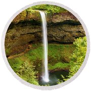 Silver Falls South Falls Round Beach Towel