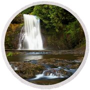 Silver Falls Waterfall Round Beach Towel
