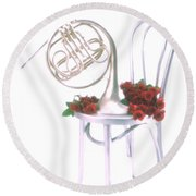 Silver French Horn On Silver Chair Round Beach Towel