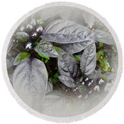 Silver Leaves And Berries Round Beach Towel