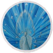 Silver Peacock Round Beach Towel