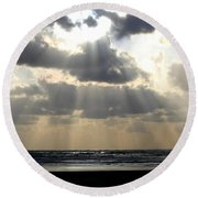 Silver Rays Round Beach Towel