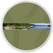 Simple Waterslide On Portage Lake Round Beach Towel